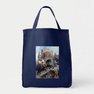 Castillo negro de los gnomos del caballo del prínc bolsa tela para la compra