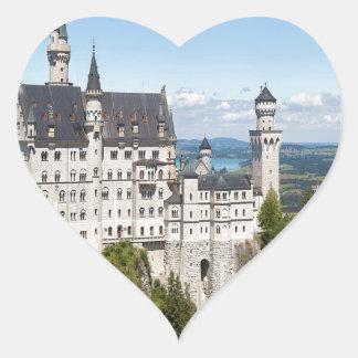 Castillo Neuschwanstein en el alemán de Baviera de Pegatina En Forma De Corazón