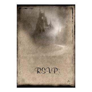 Castillo oscuro RSVP que se casa gótico del vintag Invitacion Personal