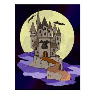 Castillo, palos y dibujo animado frecuentados de postal