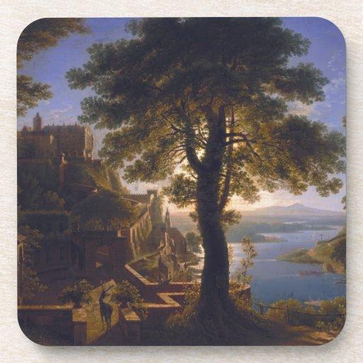 Castillo por el río 1820 de Karl Friedrich Schinke Posavasos De Bebida