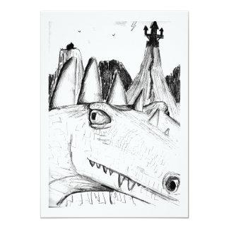 """Castillo principal del dibujo del dragón en bestia invitación 5"""" x 7"""""""