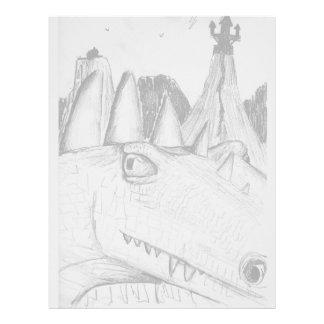 Castillo principal del dibujo del dragón en bestia membrete