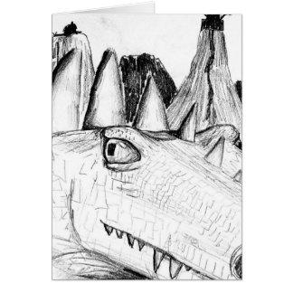 Castillo principal del dibujo del dragón en bestia tarjeta pequeña