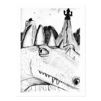 Castillo principal del dibujo del dragón en bestia postal
