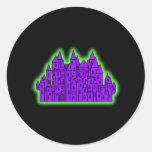 Castillo púrpura y verde etiquetas
