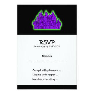Castillo púrpura y verde invitación 8,9 x 12,7 cm