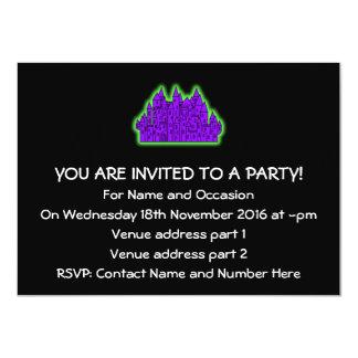 Castillo púrpura y verde invitación 11,4 x 15,8 cm