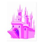 Castillo rosado del boda del cuento de hadas tarjetas postales