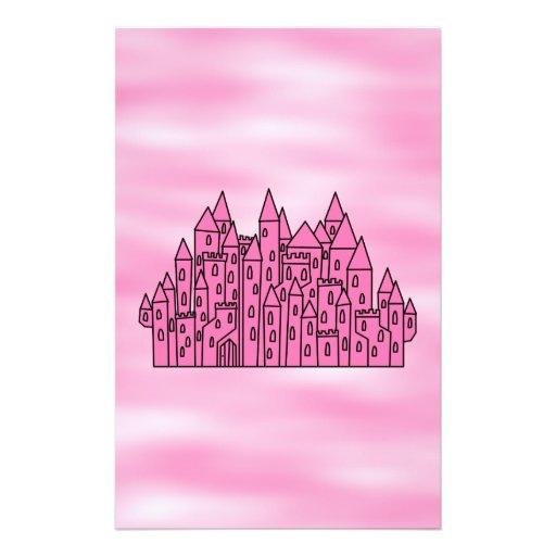 Castillo rosado del cuento de hadas tarjetas informativas