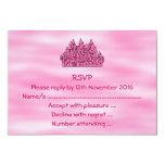 Castillo rosado del cuento de hadas invitación personalizada