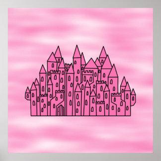 Castillo rosado del cuento de hadas posters