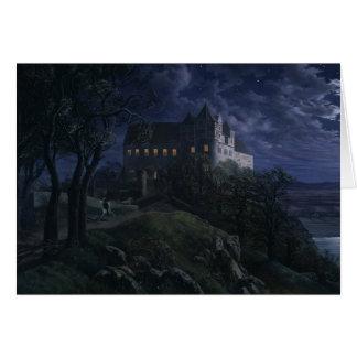 Castillo Scharfenberg de Oehme en la noche CC0454 Tarjeta De Felicitación