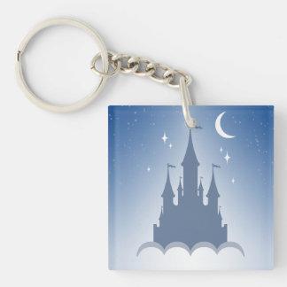 Castillo soñador azul en el cielo estrellado de la llavero cuadrado acrílico a doble cara