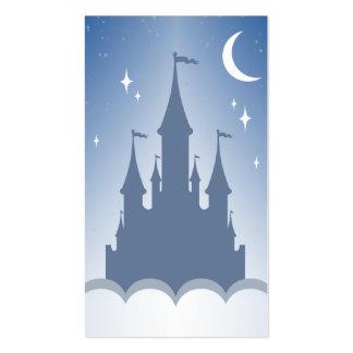 Castillo soñador azul en el cielo estrellado de la tarjetas de visita