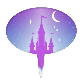 Castillo soñador de la noche en el cielo palillos de tarta