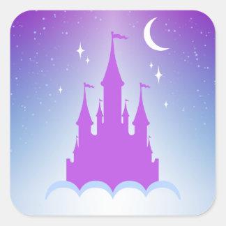 Castillo soñador de la noche en el cielo calcomania cuadradas personalizada