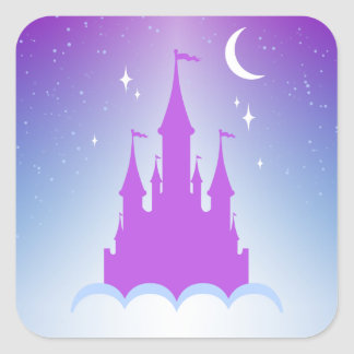Castillo soñador de la noche en el cielo pegatina cuadrada