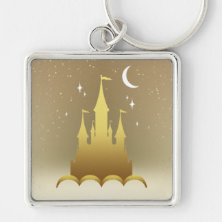 Castillo soñador de oro en el cielo estrellado de llavero cuadrado plateado