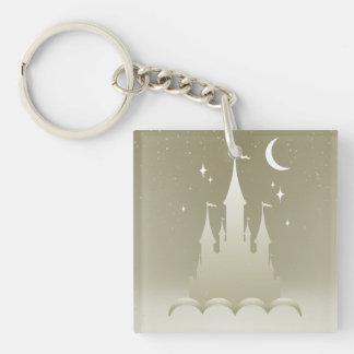 Castillo soñador de plata en el cielo estrellado llavero cuadrado acrílico a una cara