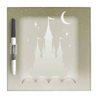Castillo soñador de plata en el cielo estrellado pizarras