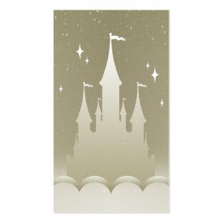 Castillo soñador de plata en el cielo estrellado tarjetas de visita