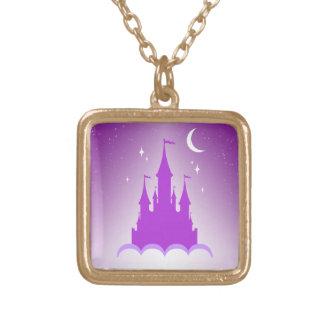 Castillo soñador púrpura en el cielo estrellado de pendiente personalizado