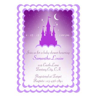"""Castillo soñador púrpura en la fiesta de invitación 5"""" x 7"""""""