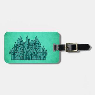 Castillo verde del trullo etiqueta para equipaje
