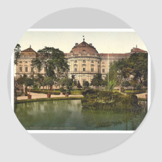Castillo y fuente, Wurzburg, Baviera, Alemania VI Pegatinas Redondas