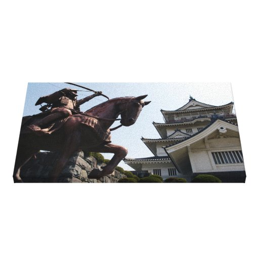 Castillo y guerrero japoneses en Chiba Lona Envuelta Para Galerías