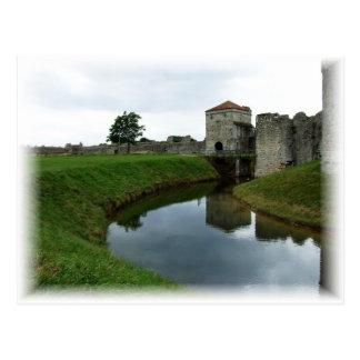 Castillo y mota de polvo viejos postales