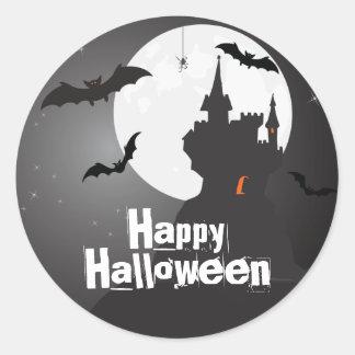 Castillo y palos misteriosos Halloween Pegatina Redonda