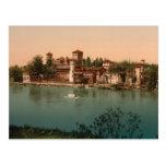 Castillo y pueblo con mercado medievales, Turín, Postal