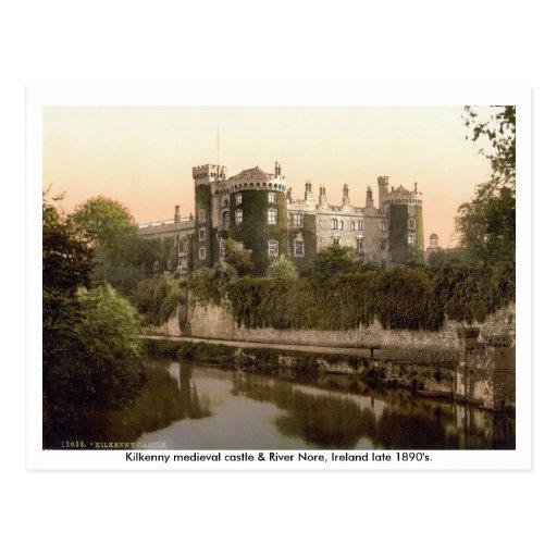 Castillo y río Nore, siglo XIX de Kilkenny Tarjetas Postales
