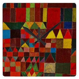 Castillo y Sun de Paul Klee Reloj Cuadrado