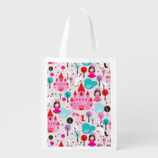 castillo y unicornio de la princesa de los niños bolsa reutilizable