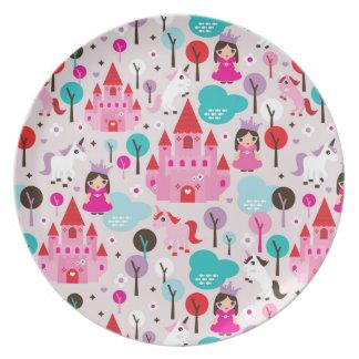 castillo y unicornio de la princesa de los niños plato para fiesta