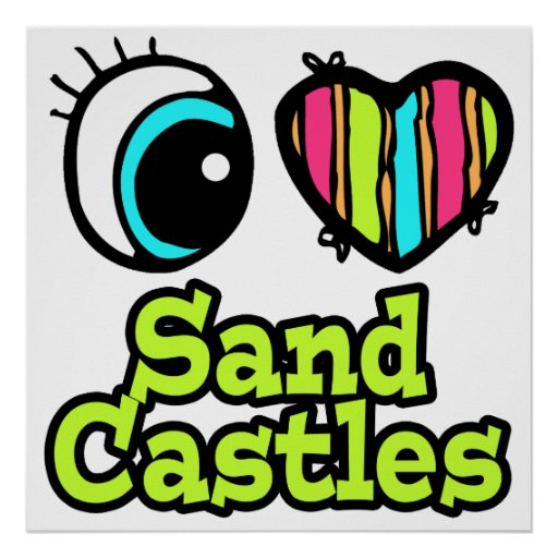 Castillos brillantes de la arena del amor del cora impresiones