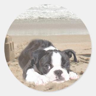 Castillos de arena del pegatina de Boston Terrier