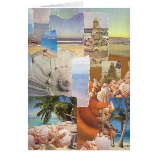Castillos de arena por el collage del mar tarjeta de felicitación