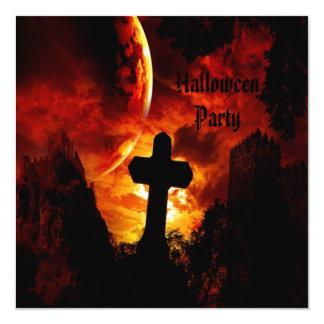 """Castillos y fiesta de Halloween de los cráneos del Invitación 5.25"""" X 5.25"""""""