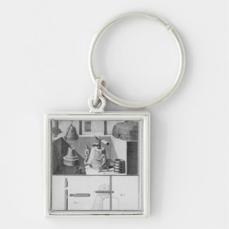 Casting bells, illustration from 'Encyclopedia' Silver-Colored Square Keychain