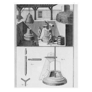 Casting bells, illustration from 'Encyclopedia' Postcard
