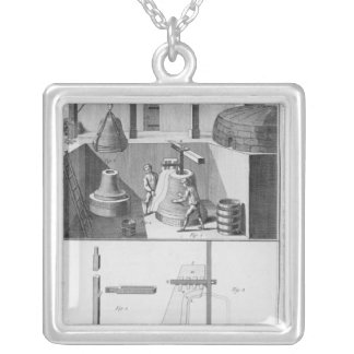 Casting bells, illustration from 'Encyclopedia' Silver Plated Necklace