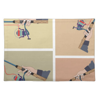 Casting spinning reel with spinning rod positions placemat