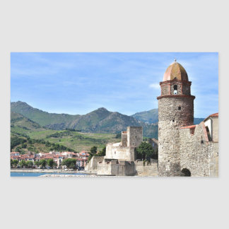 Castle and church of Collioure in France Rectangular Sticker