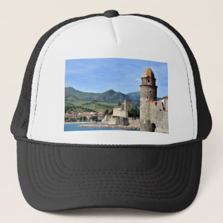 Castle and church of Collioure in France Trucker Hat