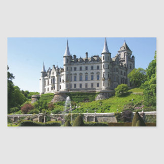 Castle and gardens rectangular sticker