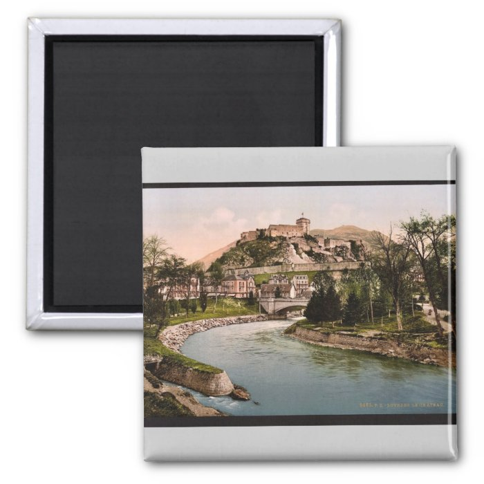 Castle and river, Lourdes, Pyrenees, France vintag 2 Inch Square Magnet